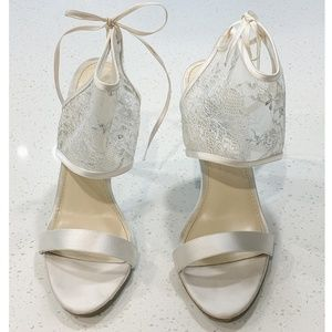 Blue by Betsey Johnson White Satin and Lace Sandal